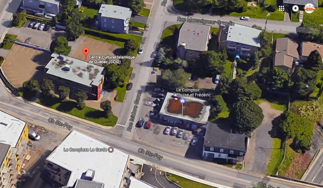 Rue de la mosquée attaquée hier soir au Canada./Capture d'écran maps