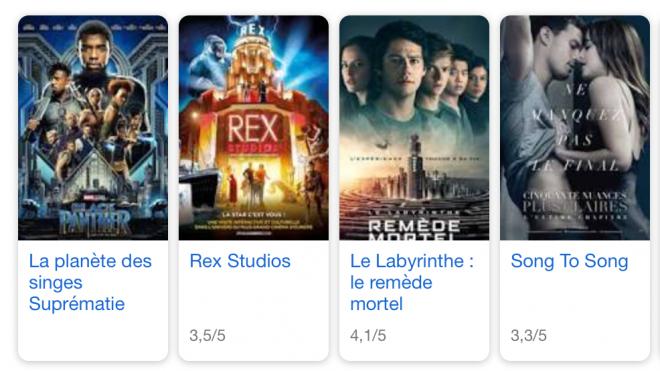 Une erreur dans l'algorithme de Google a fait se déchainer la twittosphère : des titres de films à l'affiche au cinéma apparaissaient erronés. Crédit : Capture d'écran Google