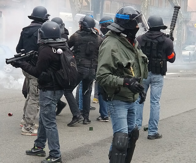 Intervention des forces de l'ordre, ce week-end à Toulouse. Crédits : M.G