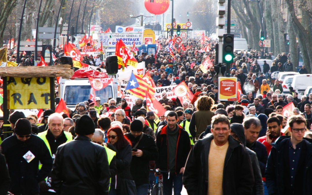 La mobilisation à Toulouse a rassemblé 10 à 20 000 personnes selon la Préfecture et 120 000 selon les syndicats. Crédit : Léo Couffin