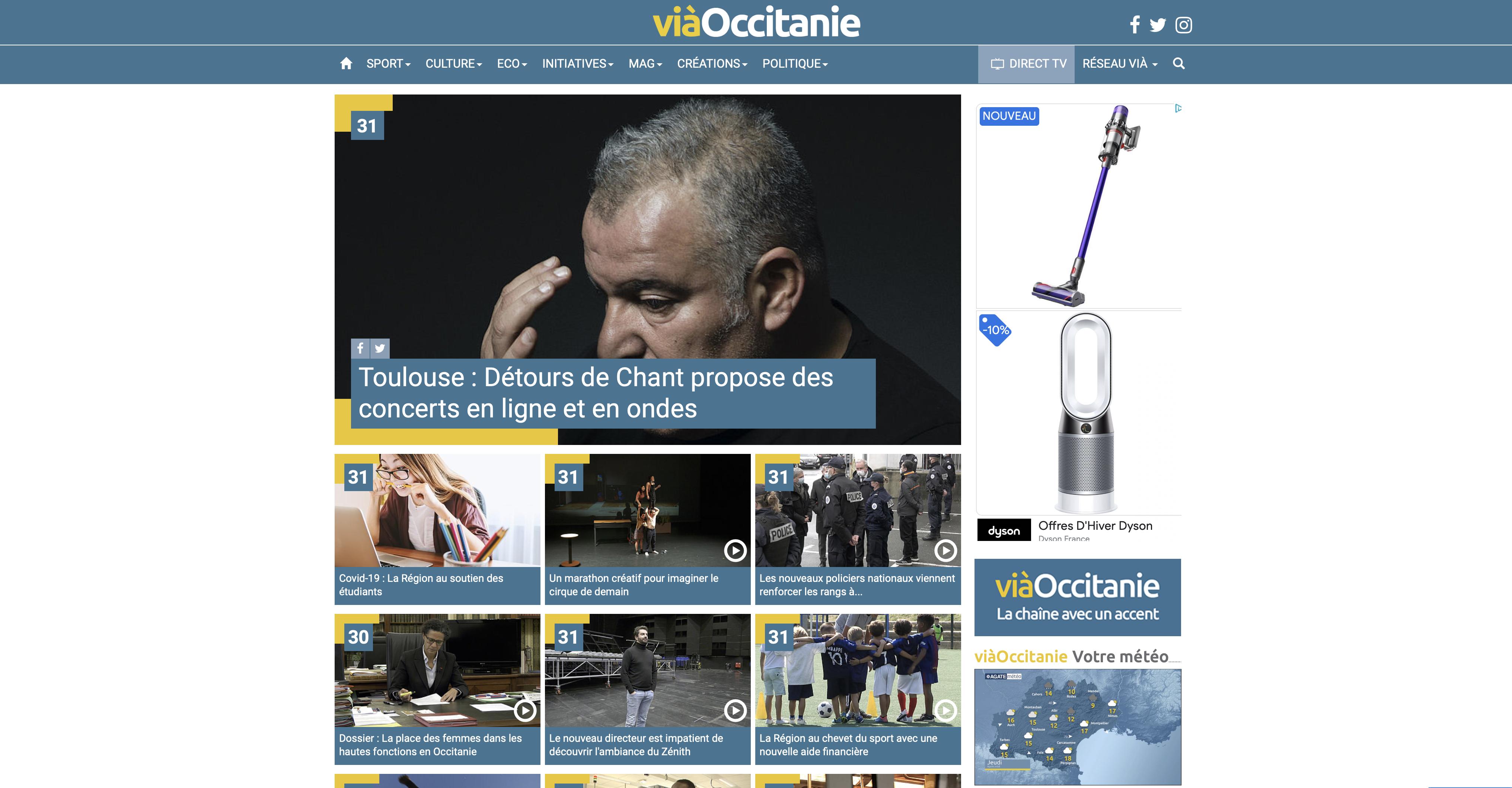 Les chaînes de TV locales du groupe Vià dont ViàOccitanie déposent le bilan. Crédit : capture d'écran