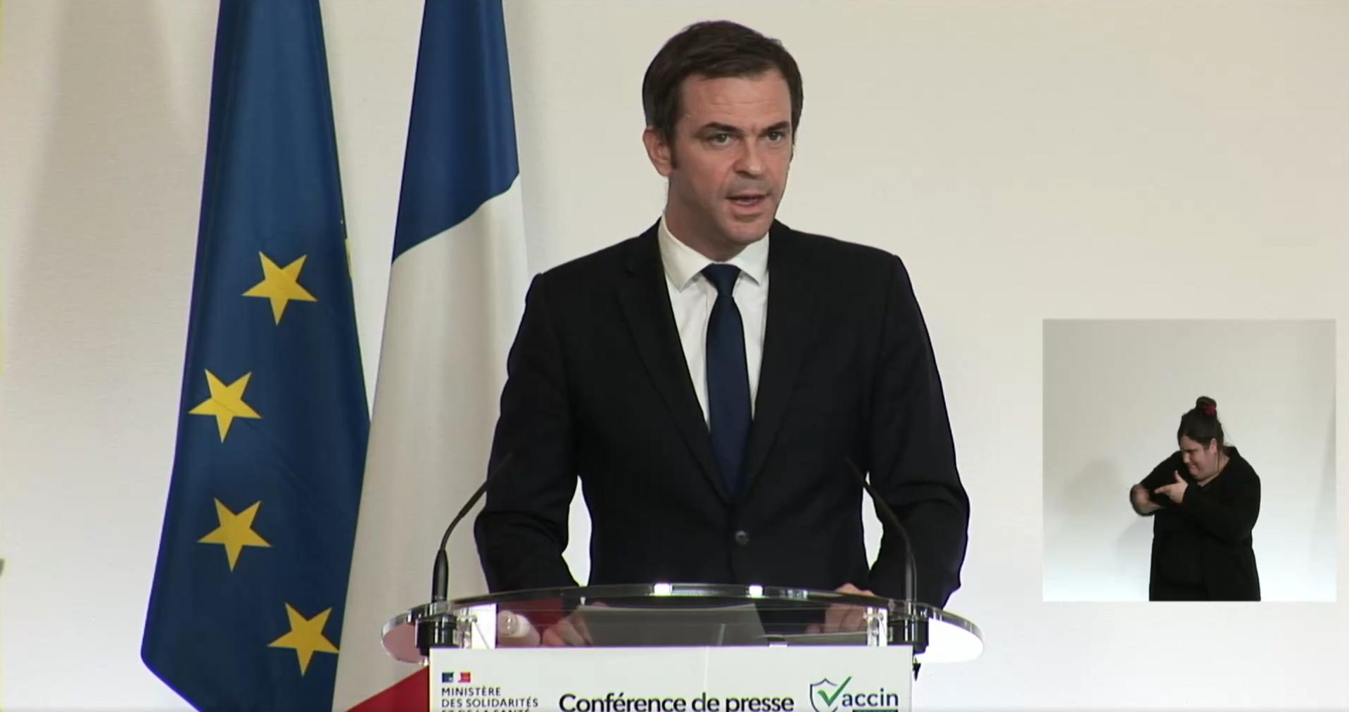 Olivier Véran, lors de sa conférence de presse le jeudi 28 janvier - Source : Ministère des Solidarités et de la Santé
